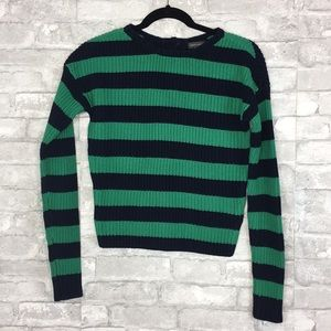 Vince Camuto Green and Blue Stripe Sweater